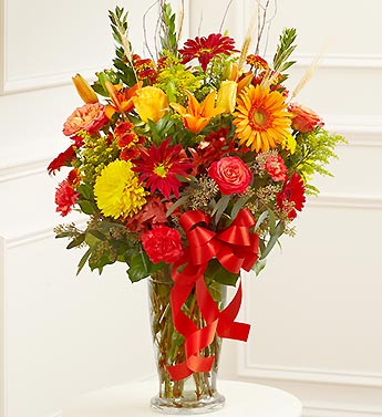Large Sympathy Vase Arrangement in Fall Colors
