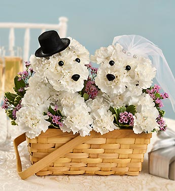 Dog-able made out of flowers getting married