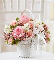 Pink and White Flower Girl Basket