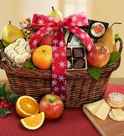 Vintage Holiday Fruit & Cheese Gift Basket