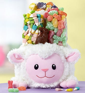 Fuzzy Lamb Plush Easter Gift Basket