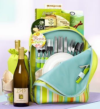 Mom's Wine Picnic Backpack Gift Basket