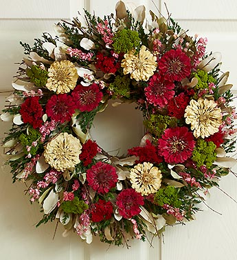 Unforgettable Zinnia Preserved  Wreath