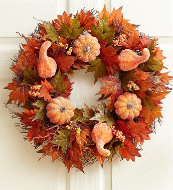 Sugared Pumpkin and Gourd Wreath