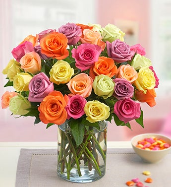 Three Dozen Assorted Roses with Vase